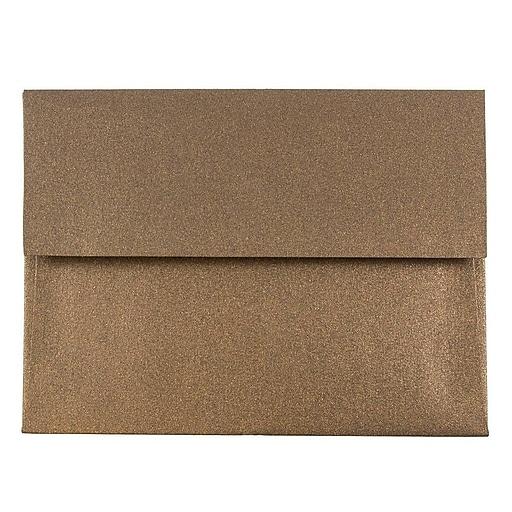 JAM Paper® A2 Metallic Invitation Envelopes, 4.375 x 5.75, Stardream Bronze, Bulk 1000/Carton (GCST602B)