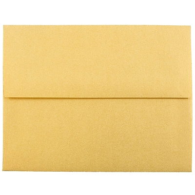 JAM Paper® A2 Invitation Envelopes, 4 3/8 x 5 3/4, Stardream Metallic Gold, 1000/carton (GCST608B)