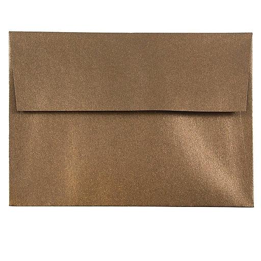 JAM Paper® A6 Metallic Invitation Envelopes, 4.75 x 6.5, Stardream Bronze, Bulk 1000/Carton (GCST652B)