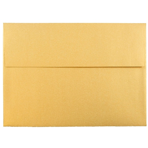 JAM Paper® A7 Metallic Invitation Envelopes, 5.25 x 7.25, Stardream Gold, 25/Pack (GCST708)
