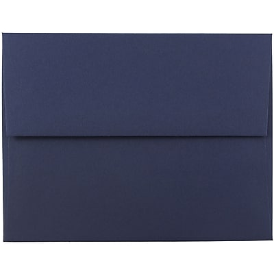 JAM Paper® A2 Invitation Envelopes, 4 3/8 x 5 3/4, Navy Blue, 250/box (LEBA617H)