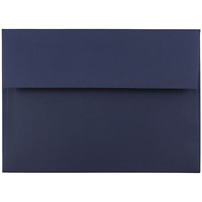JAM Paper® A7 Invitation Envelopes, 5.25 x 7.25, Navy Blue, 50/pack (LEBA717I)