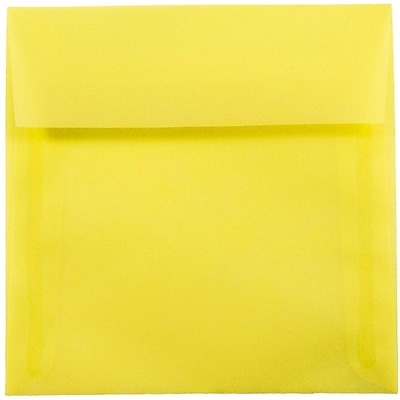 JAM Paper® 5.5 x 5.5 Square Envelopes, Yellow Translucent Vellum, 25/pack (PACV506)