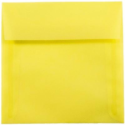 JAM Paper® 6.5 x 6.5 Square Envelopes, Yellow Translucent Vellum, 50/pack (PACV526I)