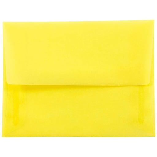 JAM Paper® A2 Translucent Vellum Invitation Envelopes, 4.375 x 5.75, Primary Yellow, Bulk 250/Box (PACV606H)