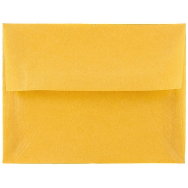 JAM Paper® A2 Invitation Envelopes, 4 3/8 x 5 3/4, Gold Translucent Vellum, 250/box (PACV617H)