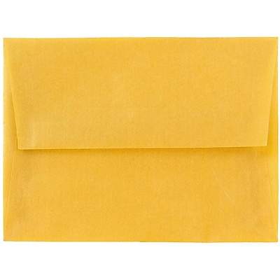 JAM Paper® A6 Invitation Envelopes, 4.75 x 6.5, Gold Translucent Vellum, 250/box (PACV667H)
