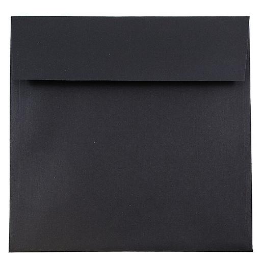 JAM Paper® 7.5 x 7.5 Square Invitation Envelopes, Black Linen, 50/Pack (V01213I)