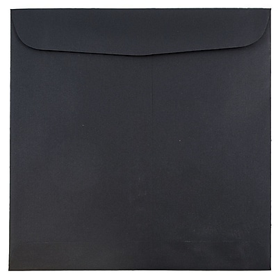 JAM Paper® 9.5 x 9.5 Square Envelopes, Black Linen Recycled, 250/box (V01216H)