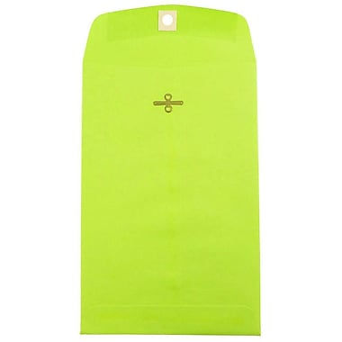 JAM Paper® 6 x 9 Open End Catalog Envelopes with Clasp Closure, Brite Hue Ultra Lime Green, 100/pack (V0128133)