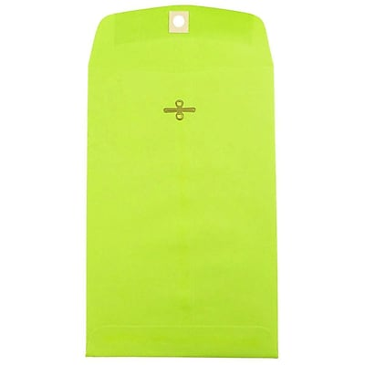 JAM Paper® 6 x 9 Open End Catalog Envelopes with Clasp Closure, Brite Hue Ultra Lime Green, 10/pack (V0128133B)