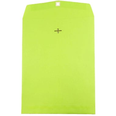 JAM Paper® 10 x 13 Open End Catalog Envelopes with Clasp Closure, Brite Hue Ultra Lime Green, 100/pack (V0128186)