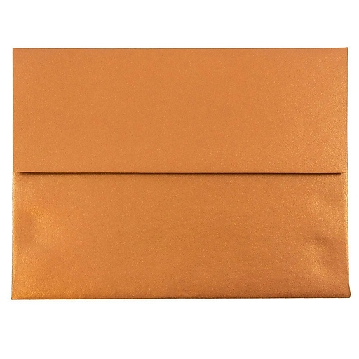 JAM Paper® A2 Metallic Invitation Envelopes, 4.375 x 5.75, Stardream Copper, 50/Pack (V018251I)