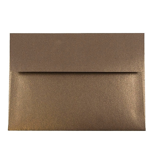 JAM Paper® A7 Metallic Invitation Envelopes, 5.25 x 7.25, Stardream Bronze, 50/Pack (V018275I)