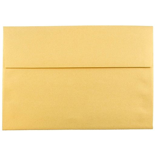 JAM Paper® A8 Metallic Invitation Envelopes, 5.5 x 8.125, Stardream Gold, 50/Pack (V018295I)