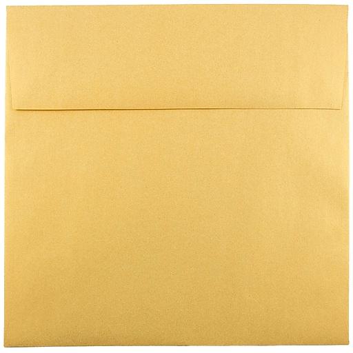 JAM Paper® 8.5 x 8.5 Square Metallic Invitation Envelopes, Stardream Gold, Bulk 250/Box (V018319H)