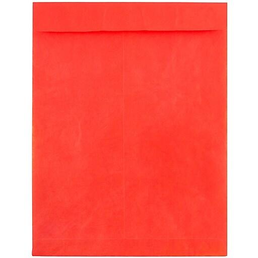 JAM Paper® 10 x 13 Tyvek Tear-Proof Open End Catalog Envelopes, Red, 25/Pack (V021383)