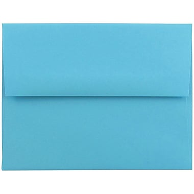 JAM Paper® A2 Invitation Envelopes, 4 3/8 x 5 3/4, Brite Hue Blue Recycled, 50/pack (WDBH600I)