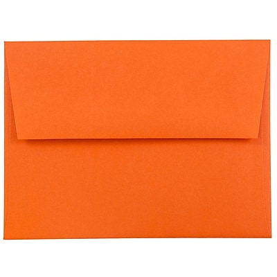 JAM Paper® A2 Invitation Envelopes, 4 3/8 x 5 3/4, Brite Hue Orange Recycled, 50/pack (WDBH602I)