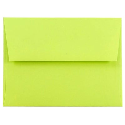 JAM Paper® A2 Invitation Envelopes, 4 3/8 x 5 3/4, Brite Hue Ultra Lime Green, 250/box (WDBH610H)