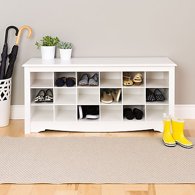 Prepac™ Composite Wood Shoe Storage Cubbie Bench, White