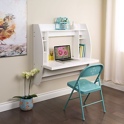 Prepac Wall Mounted Floating Desk with Storage, White (WEHW-0200-1)