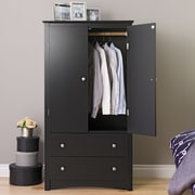 Prepac™ Sonoma Composite Wood 2 Drawer Armoire, Black