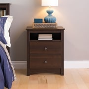"Prepac™ 28"" Fremont Tall 2 Drawer Nightstand With Open Shelf, Espresso"