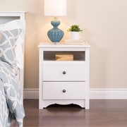 "Prepac™ 28"" Monterey Tall 2 Drawer Nightstand With Open Shelf, White"