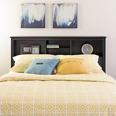 PrepacMC – Tête de lit à bibliothèque pour lit deux places ou grand lit de 65,75 po, noir