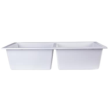 Alfi Brand 34'' x 17.75'' Undermount Double Bowl Kitchen Sink; White