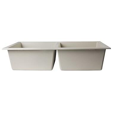Alfi Brand 34'' x 17.75'' Undermount Double Bowl Kitchen Sink; Biscuit