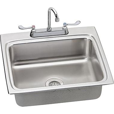 Elkay 25'' x 22'' Kitchen Sink w/ Faucet; Satin Chrome