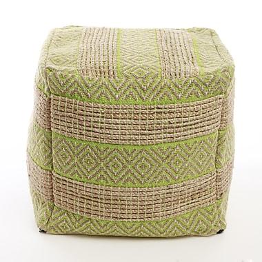 Best Home Fashion, Inc. Decorative Diamond and Stripe Pattern Pouf Ottoman; Green
