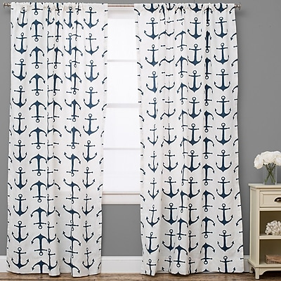 The Pillow Collection Nautical Semi-Sheer Rod Pocket Single Curtain Panel; 50'' W x 84'' L