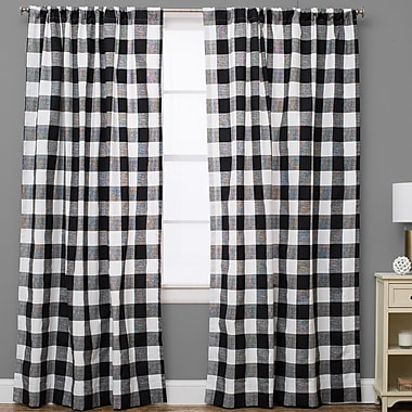 The Pillow Collection Plaid and Check Semi-Sheer Rod Pocket Single Curtain Panel; 50'' W x 72'' L