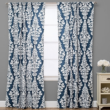The Pillow Collection Damask Semi-Sheer Rod Pocket Single Curtain Panel; 50'' W x 120'' L