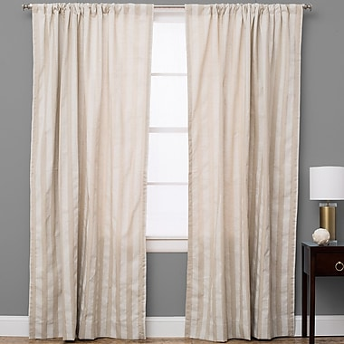 The Pillow Collection Striped Semi-Sheer Rod Pocket Single Curtain Panel; 50'' W x 84'' L