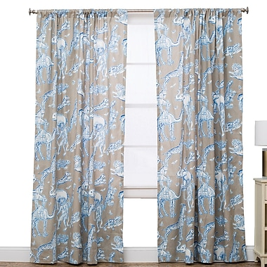 The Pillow Collection Wildlife Semi-Sheer Rod Pocket Single Curtain Panel; 50'' W x 120'' L