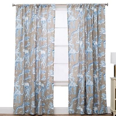 The Pillow Collection Wildlife Semi-Sheer Rod Pocket Single Curtain Panel; 50'' W x 96'' L