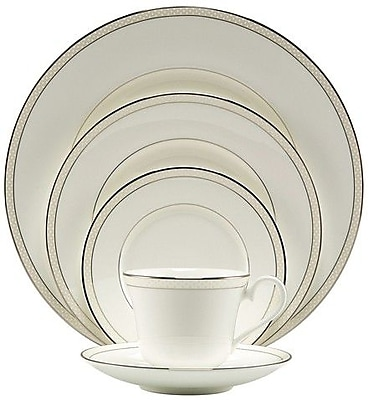 Nikko Ceramics Platinum Beaded Pearl Bone China 5 Piece Place Setting, Service for 1