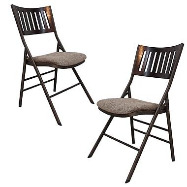 AdecoTrading Tubular Steel Folding Chair (Set of 2)