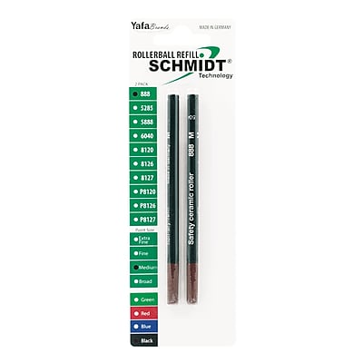 Schmidt 888 Safety Ceramic Rollerball Plastic Tube Refill, Fits Universal Pens, Broad, Black, 2 Pack (SC58111)