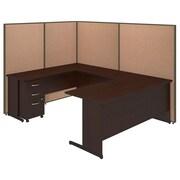 Bush Business Furniture 72W C-Leg U-Station and 3 Drawer Mobile Pedestal with ProPanels, Harvest Tan (PPC026HT)
