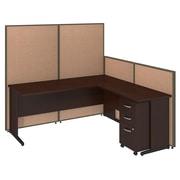 Bush Business Furniture 72W C-Leg L-Desk and 3 Drawer Mobile Pedestal with ProPanels, Harvest Tan (PPC025HT)
