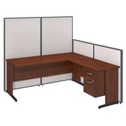 Bush Business Furniture 72W C-Leg L-Desk with 3/4 Pedestal and ProPanels, Light Gray (PPC020LG)
