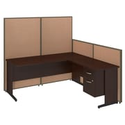 Bush Business Furniture 72W C-Leg L-Desk with 3/4 Pedestal and ProPanels, Harvest Tan (PPC020HT)