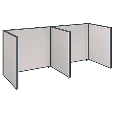 Bush Business Furniture ProPanels 96W x 36D x 42H 2 Person Open Cubicle Configuration, Light Gray (PPC011LG)