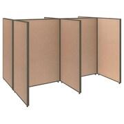 Bush Business Furniture ProPanels 96W x 72D x 66H 4 Person Open Cubicle Configuration, Harvest Tan (PPC004HT)