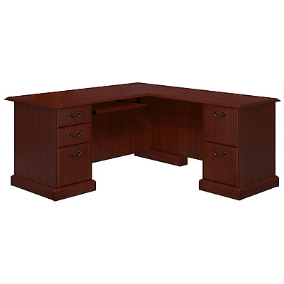 kathy ireland® Office by Bush Business Furniture Bennington L Shaped Desk, Harvest Cherry (WC65570-03K)